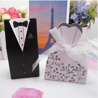 Свадебная коробка конфет Жених платье свадьба конфеты коробка двубортный конфеты коробка черно-белый костюм европейского стиля поставок свадьбы