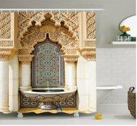 Rideau de douche décor marocain Vintage bâtiment design de polyester tissu salle de bain rideau de douche sertie de crochets rideaux de douche