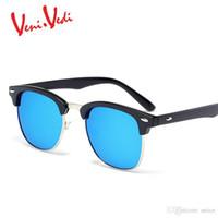 469250624b9 Hot sale-Brand New metal Half frame rivet sunglasses women fashion vintage  women s sun glasses men classic oculos de sol feminino