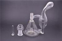 Bong en verre Joint 14.4mm Inline Birdcage Percolateur Oil Rig Water Pipe Beaker recycleur verre Bongs Deux Fonction narguilés