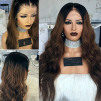 Cheap Ombre Wig Long Body Wave Full Hair Synthetic Lace Fron...