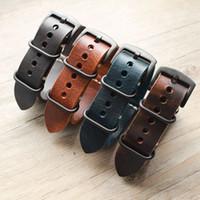Nouveau Carty Bracelet De Montre À La Main Crazy Horse Bracelet De Montre En Cuir 22mm 20mm 24mm Zulu Nato Noir / Marron / Bleu Bracelet De Montre T190702