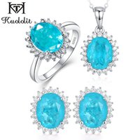 Fine Jewelry Sets Kuololit Paraiba Tourmaline Gemstone Jewelry Set per le donne solido 925 Sterling Silver Ring orecchini collane per