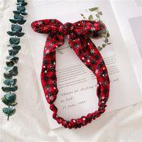 Orejas muchachas de las mujeres diadema de Navidad tela escocesa Snowflower elástico arco Hairband conejo Heaband de Navidad Accesorios para el cabello HHA996