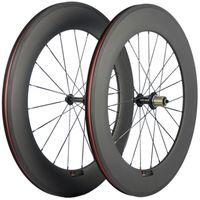88mm 깊이 탄소 섬유 휠 커플 클린 처 도로 자전거 23mm 폭 R13 허브 바퀴 3K 매트 현무암 700C 레이싱 탄소 바퀴