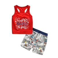 Sleeveless Sets Summer 2Pcs Baby Kids Girls Boys 4th Of July...