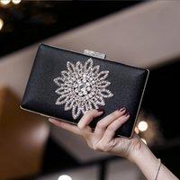 Moon Luxy Bridal Clutch Bag Wedding Evening Purse Sun White Black Women's Hand For Flower Crystal Shoulder ZD1525 Bwpwr