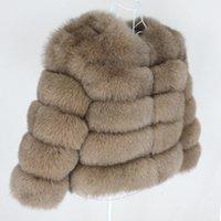 OFTBUY 2020 Зимняя куртка женщин реального Шуба Natural Big Пушистый Fox Fur Верхняя одежда Streetwear Толстые Теплый Рукав три четверти