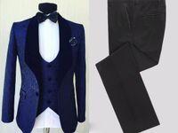 Jakarlı Damat Smokin Lacivert Erkek Düğün Smokin Kadife Yaka Slim Fit Adam Ceket Blazer 3 Parça Suit (Ceket + Pantolon + Yelek + Kravat) 166