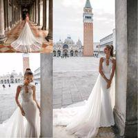 2020 vestidos de boda de Julie Vino con apliques sin respaldo desmontable Beach tren ojo de la cerradura con cuentas de encaje vestidos de novia vestido de novia por encargo