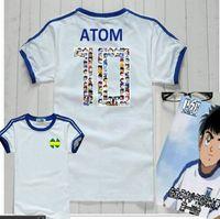 Asia I bambini al formato degli uomini di qualità piacevole Loverly del regalo di compleanno del capretto della gioventù Captain Tsubasa Ventilatori Camicie, Camiseta Oliver Atom maglie, maglietta di cotone
