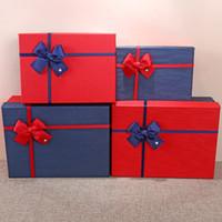 Geschenk-Verpackungs-Box Mode Weihnachten Blau Rot Rechteck Geschenk-Bogen Weihnachten Kreative einfache Geschenk-Kasten Karton Kosmetik-Partei XD22626