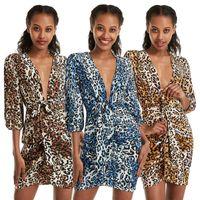 Fashion Sexy Sommer-Frauen-Leopard druckt mit tiefem V-Ausschnitt Minikleid Nachtclub 3/4 Hülsen-Kurzschluss-Kleider Bodycon Lady-Kleidungs-Partei