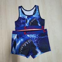 Il trasporto libero 8 stili formato S-XL Donne Ethika biancheria intima Costumi da bagno Bra + bicchierini 2 Pezzo Tuta Shark animale fiore set costume da bagno bikini