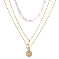 レディースジュエリー真珠の短い多層メモックレース女性鎖骨チェーンボールの肖像画ペンダント愛のネックレスガールフレンド
