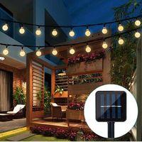 Lámpara solar 10M 50LED CRISTAL BALL GLOBO LUZ Impermeable Cálido blanco Luz de hadas Decoración de jardín Decoración solar exterior LED
