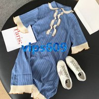 High end women girls dress letter print lapel Fold Button Ve...