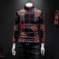 dos homens plus size mais grossa de veludo de manga comprida T-shirt tendência 2.019 novos solta coreano veludo gola alta camisa xadrez elástica