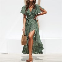 Summer Beach Maxi Dress Women Stampa floreale Boho Long Chiffon Dress Ruffles Wrap Casual V-Neck Split Sexy Party Robe Femme