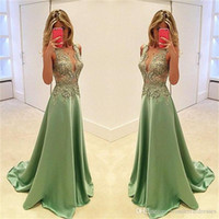 Sexy Green Appliques Lace Evening Dresses 2017 Satin V Neck ...