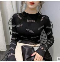 Primavera nuovo O-collo delle donne a maniche lunghe in cotone bodycon tunica lettere tessuto patchwork di strass shinny bling top t-shirt più dimensioni MLXLXXL