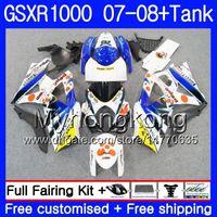 Kit + Tanque para SUZUKI GSX R1000 GSXR-1000 Pepephone blanco GSXR 1000 2007 2008 301HM.42 GSX-R1000 07 08 Carrocería K7 GSXR1000 07 08 Carenado 7Gift