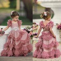 2020 сливовые розовые рукава рукава цветок девушка платья кружева аппликации спагетти тюль ярусных детей кружева цветок девушка платья для свадьбы