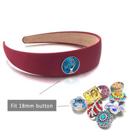 New Candy Color Headband 019 Solid color Fit 18mm Snap Button Headband Acrylic Hair Accessories For Women Girls Gift