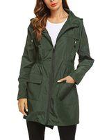 Trench coat sólido das mulheres jaqueta de chuva ao ar livre moletom com capuz casaco longo impermeável casaco à prova de vento de algodão sólido longo plus size casaco harajuku