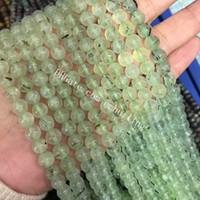 10 Tellerinin Pürüzsüz Prehnit Iyi Cilalı Taş Yuvarlak DIY Boncuk Doğal Yeşil Prehnit Gevşek Spacer Boncuk 4/6/8 / 10mm Şifa Takı Craft