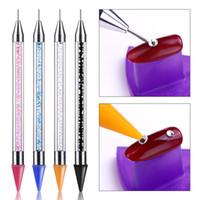 1 Pcs Double tête Dotting Pen Strass Studs Picker Cire Crayon Cristal Perles Poignée Nail Art Outil