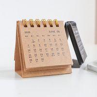 2020Calendar Preto Branco Cinzento Série Tabela Calendário Criativo simples Desk Papel Kraft Notepad Calendário diário Calendário Anual Agenda Organizer
