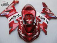 Personalice el kit de carenamientos chinos para Kawasaki Ninja ZX6R 2005 2006 ZX 6R 05 06 Carrocería de carenado de Rojo Oeste