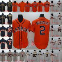 2 Alex Bregman 27 Jose Altuve 4 George Springer 2020 New Men 's Baseball Jersey Cinza Laranja Preto Branco
