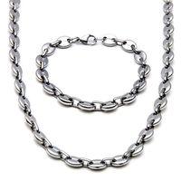Articoli da regalo Fidanzato 10mm largo lucido Chicchi Catena Mens del braccialetto 14k Gold Chains collana in acciaio inox Costume Jewelry Set