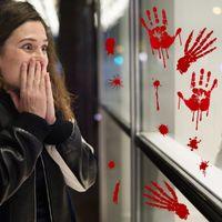 Korku Cadılar Bayramı Dekorasyon duvar çıkartmaları kanlı parmak Izi kanlı Handprint ayak 3D duvar kağıdı su geçirmez zemin kapı dekor 30 * 45 cm
