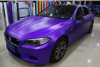 Фиолетовый сатин Chrome Car Wrap Vinyl с воздушным высвобождением Матовый фиолетовый металлик пленка обертывания DIY укладки автомобиля наклейка наклейка размером 1,52x20 м / рулон