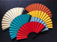 Batik Rice Kağıt Blank Katlanır Fan Renkli Çinli El Fan DIY Boyama Hat Big Bambu kemik Yaratıcı göster Fan