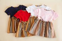 Summer Girls Stripe Robe De Marque Style Cheveux Collier rond Robe à manches courtes Enfants Coton Robe Coton Rouge Blanc Blanc Navy Rose A2191