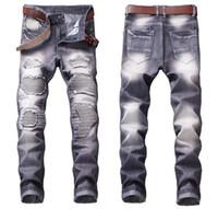 Mens Plissee Panelled Biker Jeans Modedesigner gerade Bein Motorrad Slim Fit Gewaschene Luxurr Denim-Hosen-Hose