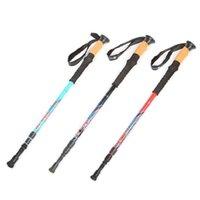 Extérieur Trois sections Grip droite alpenstock 60% Ultraléger carbone pliant rétractable de canne bâton Béquilles Sticks Livraison gratuite