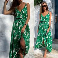 섹시한 여성 보헤미안 맥시 꽃 드레스 V 넥 잎 인쇄 여름 휴가 민소매 분할 드레스 여성 의류 캐주얼 패션 새로운
