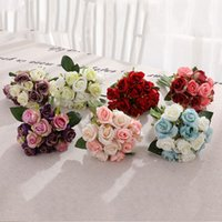 Branchlets Gefälschte Rose Künstliche Blumen Qualitäts-Silk Kunststoff Simulation Flowers Home Party Hochzeit Dekorieren Rosen 12pcs / lot LJJA3264