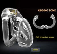 Żartująca strefa New Arrival Ogólnokrajowy Pierścień Projekt Mężczyzna Cock Cage Chastity Urządzenie z 4 Penis Ring Hole Bondage Lock Dorosłych Płeć Zabawka