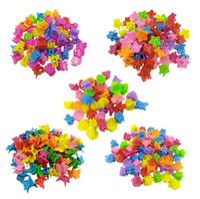 100 unids / lotes Colores mixtos Niños Mini Mini Heart Pata Butterfly Forma Forma Play Clips Lindos Barrettes Accesorios de Moda