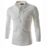 Slim solide Couleur Polo Hommes 2016 Fashion pied de col gris à manches longues Polo Casual Faux Pocket Henley Shirt Tendance