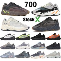 700 do corredor da onda Reflective Kanye Mens Running Shoes Phosphor Laranja óssea estática Analog Sal Carbono Azul Teal Trainger Sports Com a caixa