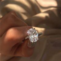 2019 новые женские обручальные кольца мода серебряный обручальные кольца драгоценный камень имитация бриллиантовое кольцо для свадьбы