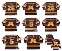 Maillot Vintage Minnesota Gophers 26 THOMAS VANEK 26 PHIL KESSEL 9 KYLE OKPOSO 5 NICK LEDDY Personnalisé N'importe quel Nom Numéro Maillots de Hockey NCAA