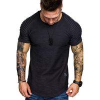 Mens pieghettato spalla design girocollo a maniche corte Tshirt Slim Fit uomo curvo Hem Magro Hip Hop maglietta Streetwear